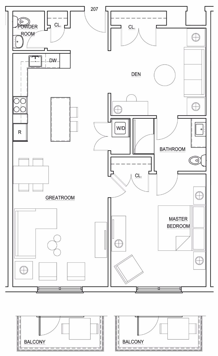 1 Bedroom With Large Den, 1.5 Bathrooms